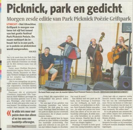 artikel AD - Utrecht editie - over het Park Picknick Poëzie Festival