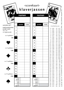 formulier voor puntentelling klaverjassen