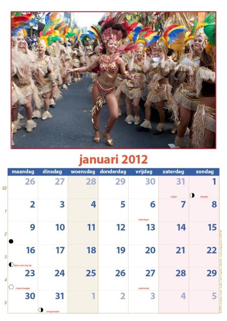 kalender Zomercarnaval 2012 januari