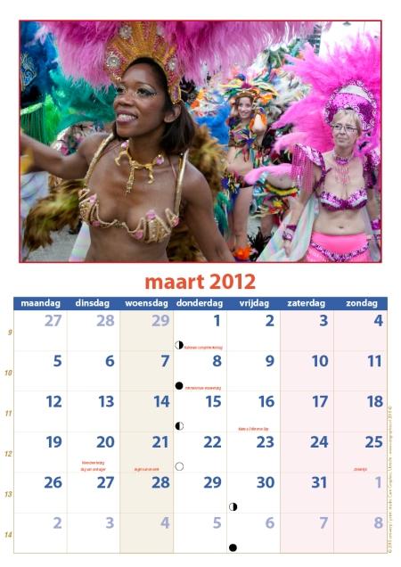 kalender Zomercarnaval 2012 maart
