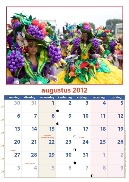 kalender Zomercarnaval 2012 augustus