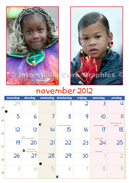 Zomercarnaval foto's en kalender 2012 maand november
