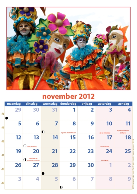 kalender Zomercarnaval 2012 november
