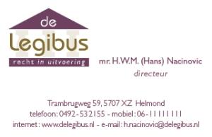 Legibus visitekaartje voorkant